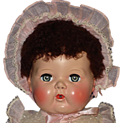 Tiny Tears Doll & Accessories High Color & Brown Caracul Wig American Character c1950