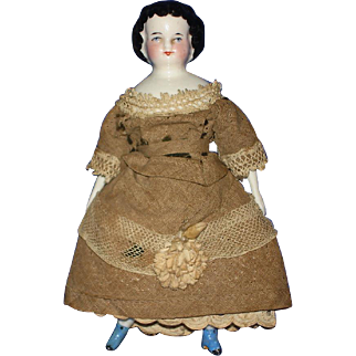 1860's Dolhouse China Doll with Blue Boots in Period Dress Germany