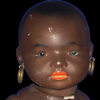 Black Koppelsdorf #399 Bisque Head Baby Doll Ernst Heubach 1887-on As Is