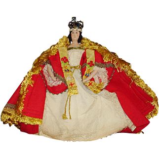 Liberty of London Queen Victoria in Coronation Robes Cloth Character Doll England