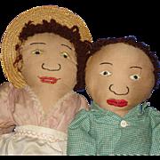 Sambo & Miranda Rag Cloth Dolls 1943 McCall Pattern Dolls Folk Art!