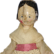 Early Peg Wooden Doll with Side Curls Germany 1880-on - Red Tag Sale Item