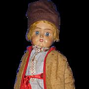"Early 15"" Russian Terra Cotta Head Peasant Boy Doll tagged Soviet Union 1922-on"