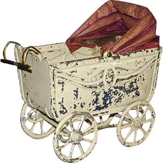 Early German Tin Baby Doll Buggy or Carriage As Is