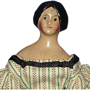 "Braided Bun Milliner's Model 6"" Paper Mache Doll Germany 1820s-on  Dollhouse Size!"