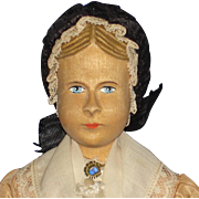 """Swiss Wood Articulated Carved Hair 8"""" Doll Original"""