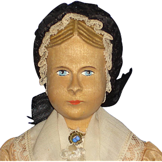 "Swiss Wood Articulated Carved Hair 8"" Doll Original"