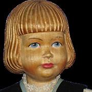 """11 3/4"""" Swiss Linden Wood Carved Doll Peter Huggler 1930s"""