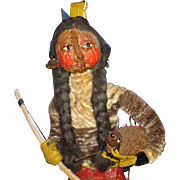 Rare Loveleigh Novelties Indian & Turkey Character Nut Doll American Folk Art