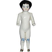 5: Frozen Charlotte China Doll with Gold Luster Boots Germany 1870's-on