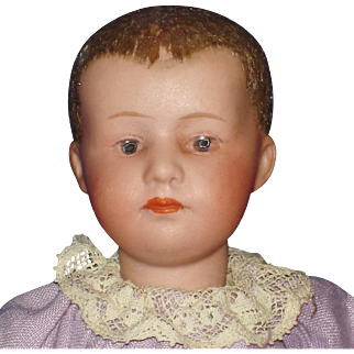 "6"" Flocked Hair Bisque Head Heubach Baby Germany c1910-on"