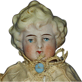 "7"" Tinted Bisque Molded Hair & Shoulder Plate Doll Germany 1880's-on"