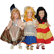 3 Jointed Composition Dolls Original 1930s-on