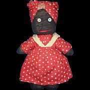 Vintage Black Stocking Cloth Mammy Doll USA 1950s-on