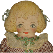 "Vintage 15"" Hand Painted Cloth Doll"
