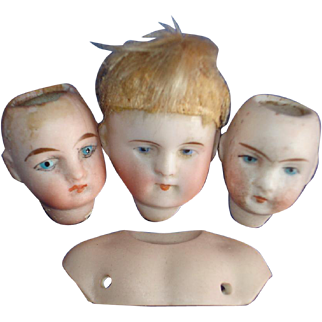 4 PE Mini Bisque Heads & Shoulder Plate Germany 1890s-on