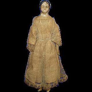 "6 1/4"" Milliners Model with Bun Papier Mache Dollhouse Size Doll Germany 1850s"