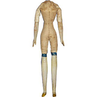 """8.5"""" Milliners Model Body with Mustard Slippers Germany 1850s-on"""