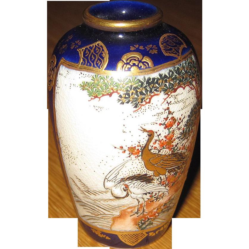 Satsuma cobalt vase Meiji period