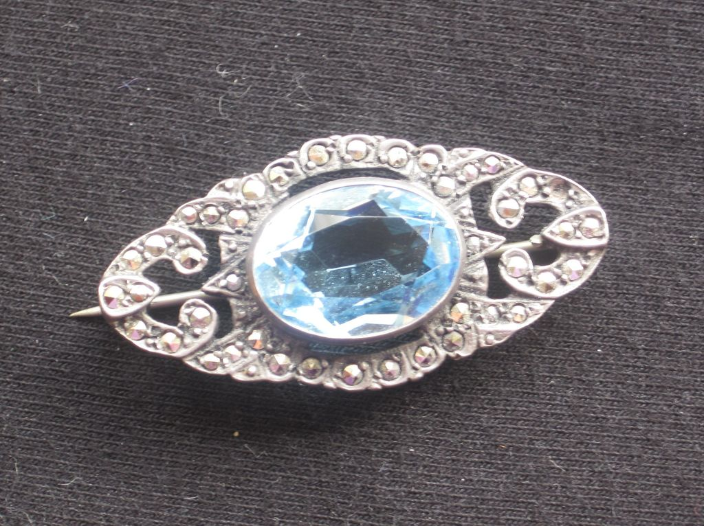 Silver marcasite and aquamarine brooch 1913