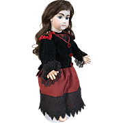 Antique black and red two piece outfit for large bebe