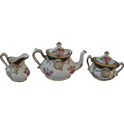 Crown Staffordshire Teapot, creamer and sugar bowl