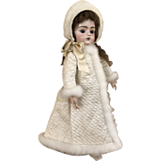 Wool challis and quilted silk doll coat / hat with swansdown Snow Angel