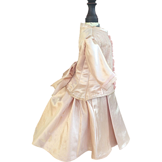 2piece doll costume in pink antique Duchess satin