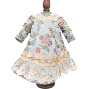 Duck egg blue doll dress in antique French silk brocade