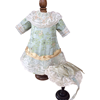 Duck egg blue silk brocade doll dress and bonnet