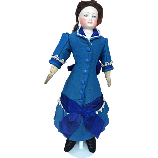 Girls dress for French fashion poupee in blue antique silk