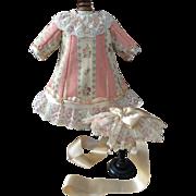 Pink and cream silk brocade doll dress and bonnet