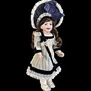 Blue antique french brocade doll dress and silk velvet hat