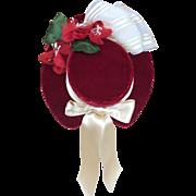 Dolls hat in red antique silk velvet