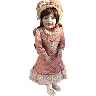Doll dress and bonnet in salmon pink antique French brocade
