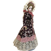 Dark burgundy silk brocade day dress and bonnet for french fashion poupee