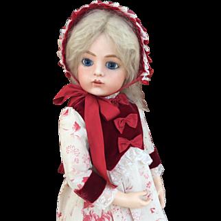 Antique velvet and cotton doll dress and bonnet