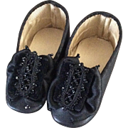 Beautiful large black heeled doll shoes