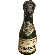 Miniature glass bottle of French champagne for poupee
