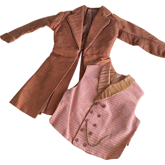 Silk frock coat and waistcoat vest for French poupee man