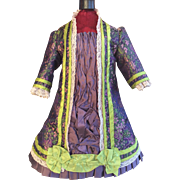 Beautiful purple and lime brocade Bru style dress - Red Tag Sale Item