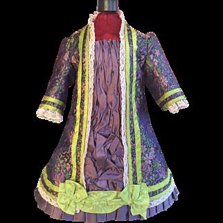 Beautiful purple and lime brocade Bru style dress