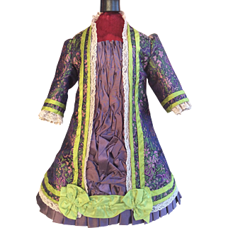 Beautiful purple and lime brocade Bru style dress