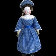 Blue silk early victorian style dress