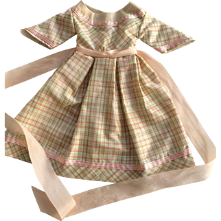 Peach silk early Victorian style dress couture by Jean Jackson of French Doll Costumes