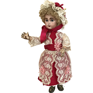 Lace and red silk dress and bonnet