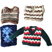 1/12th scale 4 Hand knitted men's sweaters for dollhouse
