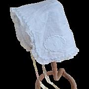 Antique hand sewn fine lawn baby bonnet