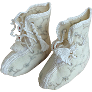 Antique handmade and embroidered wool baby bootees