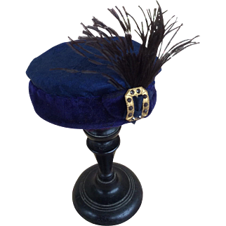Antique blue doll hat
